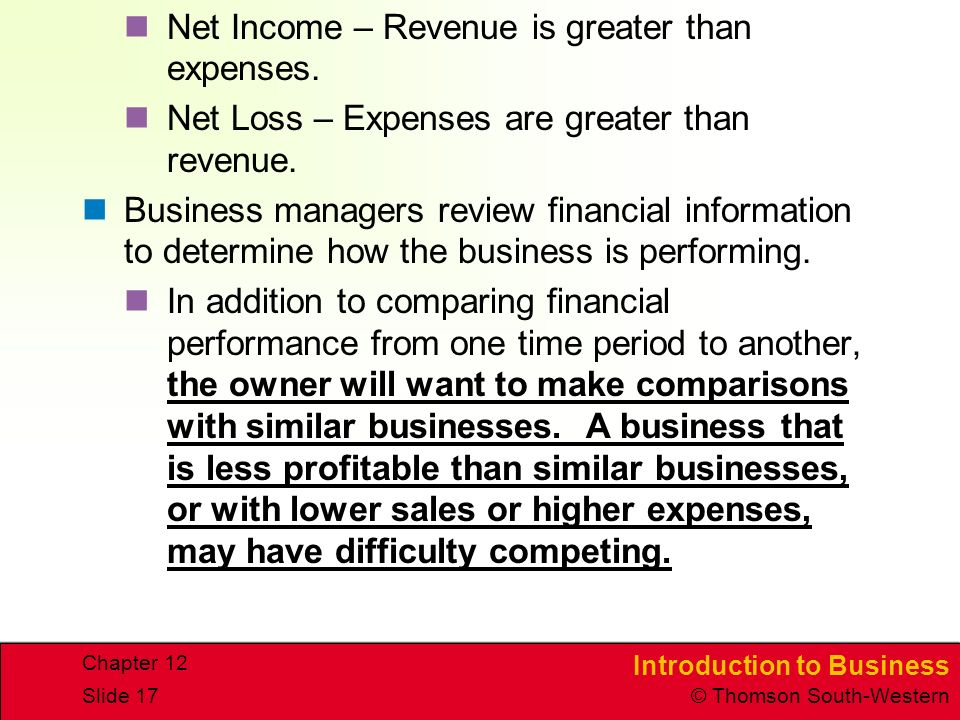 Net Income – Revenue is greater than expenses.