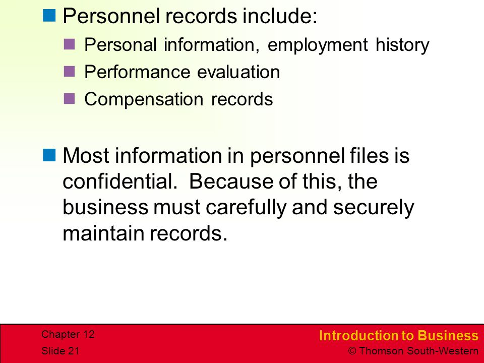 Personnel records include: