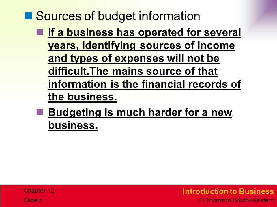 Sources of budget information