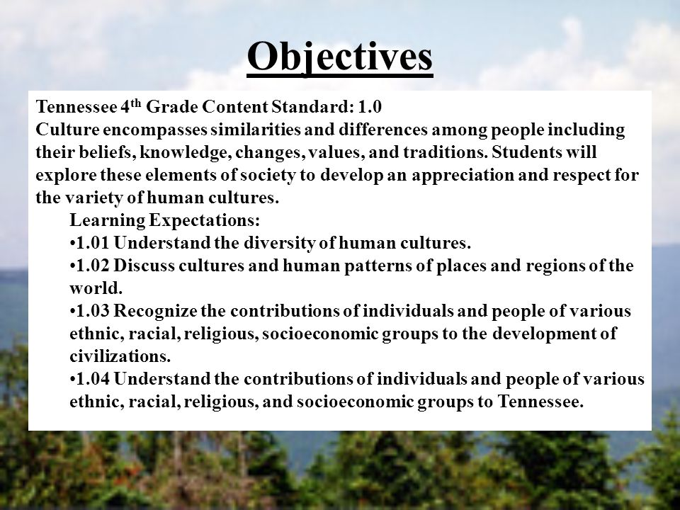 Objectives Tennessee 4th Grade Content Standard: 1.0
