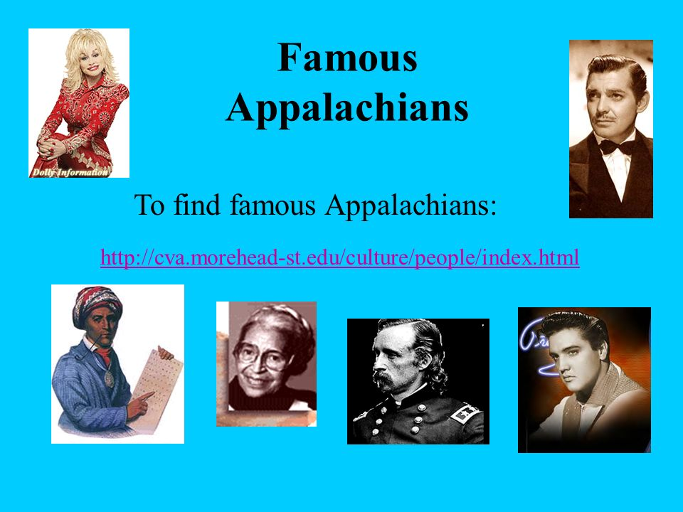 To find famous Appalachians: