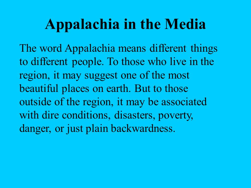 Appalachia in the Media