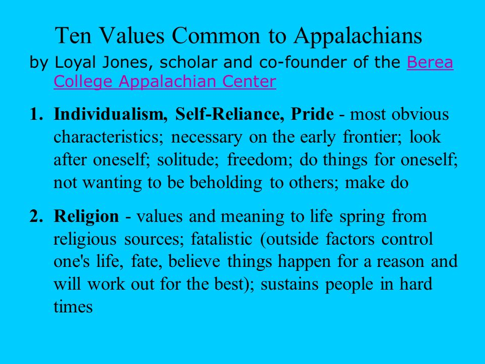 Ten Values Common to Appalachians