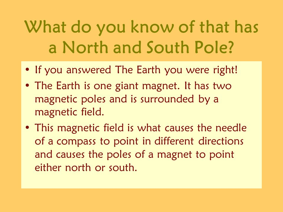 What do you know of that has a North and South Pole