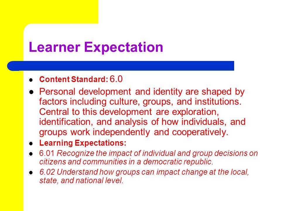 Learner Expectation Content Standard: 6.0.