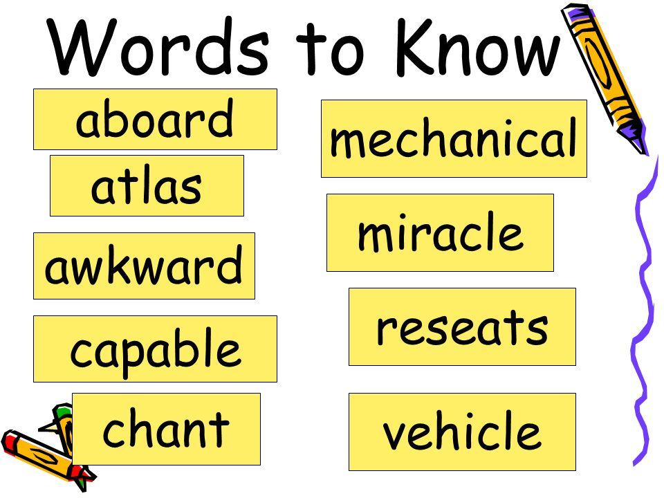 Words to Know aboard mechanical atlas miracle awkward reseats capable