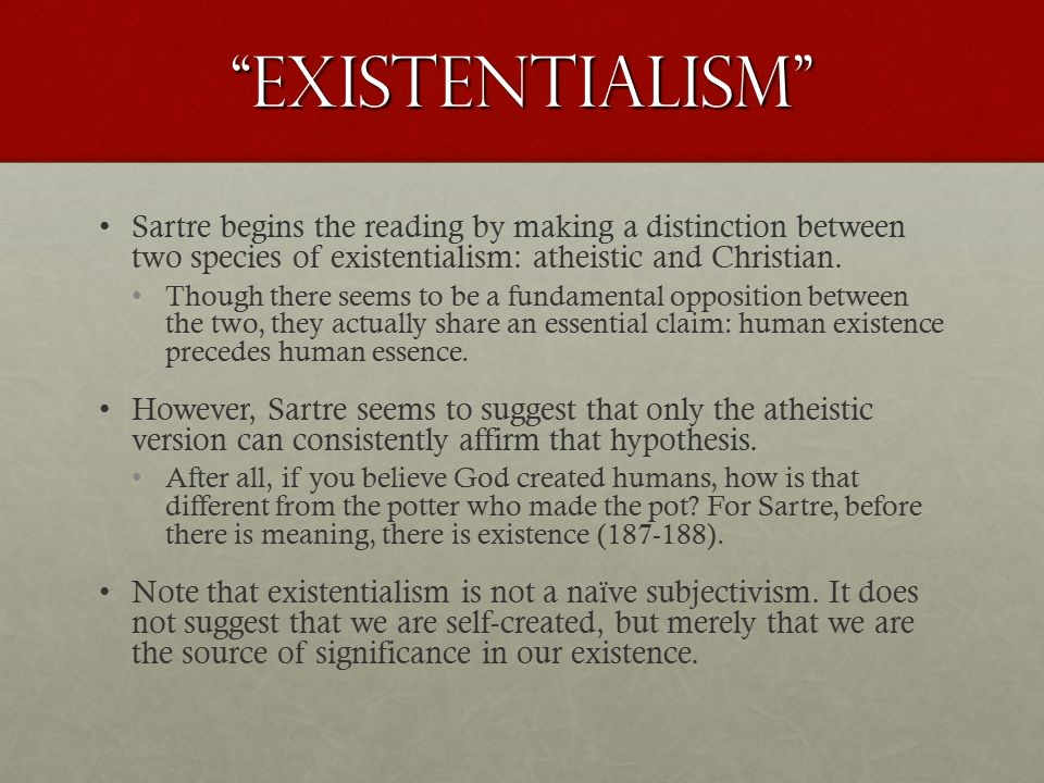 existentialism is a humanism sparknotes
