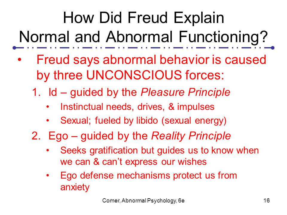 the difference between normal and abnormal psychology The personality psychology component focuses on theoretical and empirical approaches to personality with special relevance for understanding abnormal behavior domains include psychodynamic theory, the cognitive approach, motivation, the self concept, and the relationship between stress and health.