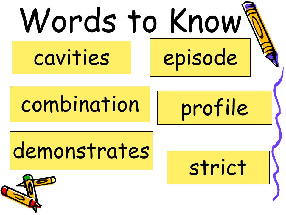 Words to Know episode cavities combination profile demonstrates strict
