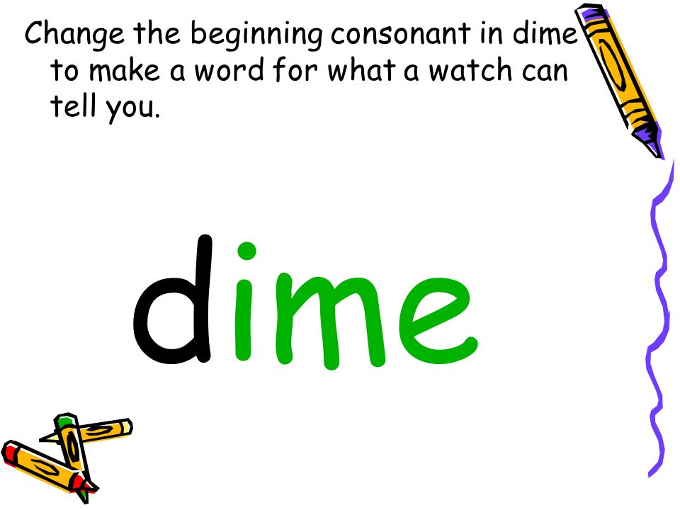 Change the beginning consonant in dime to make a word for what a watch can tell you.