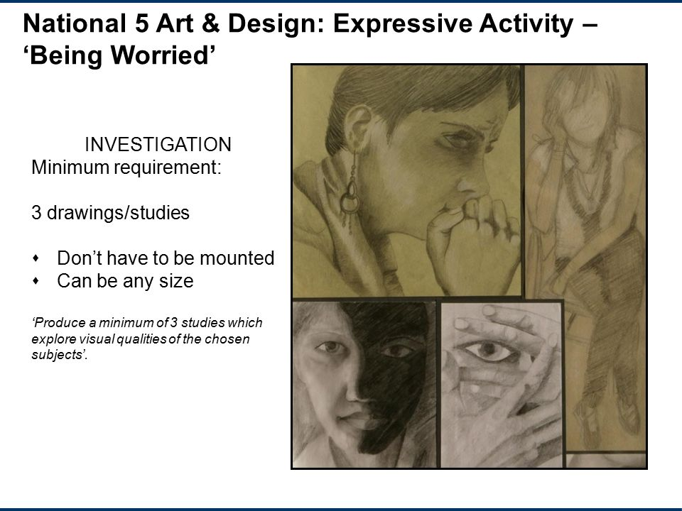 National 5 Art & Design: Expressive Activity – 'Being Worried'