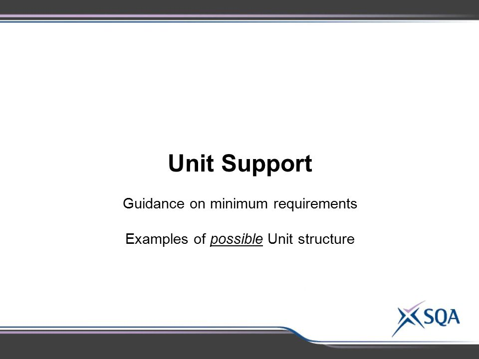 Guidance on minimum requirements Examples of possible Unit structure