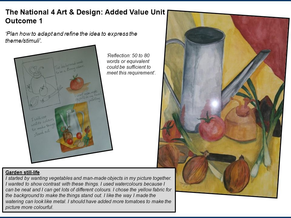 The National 4 Art & Design: Added Value Unit Outcome 1
