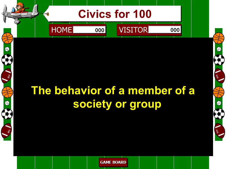 The behavior of a member of a society or group
