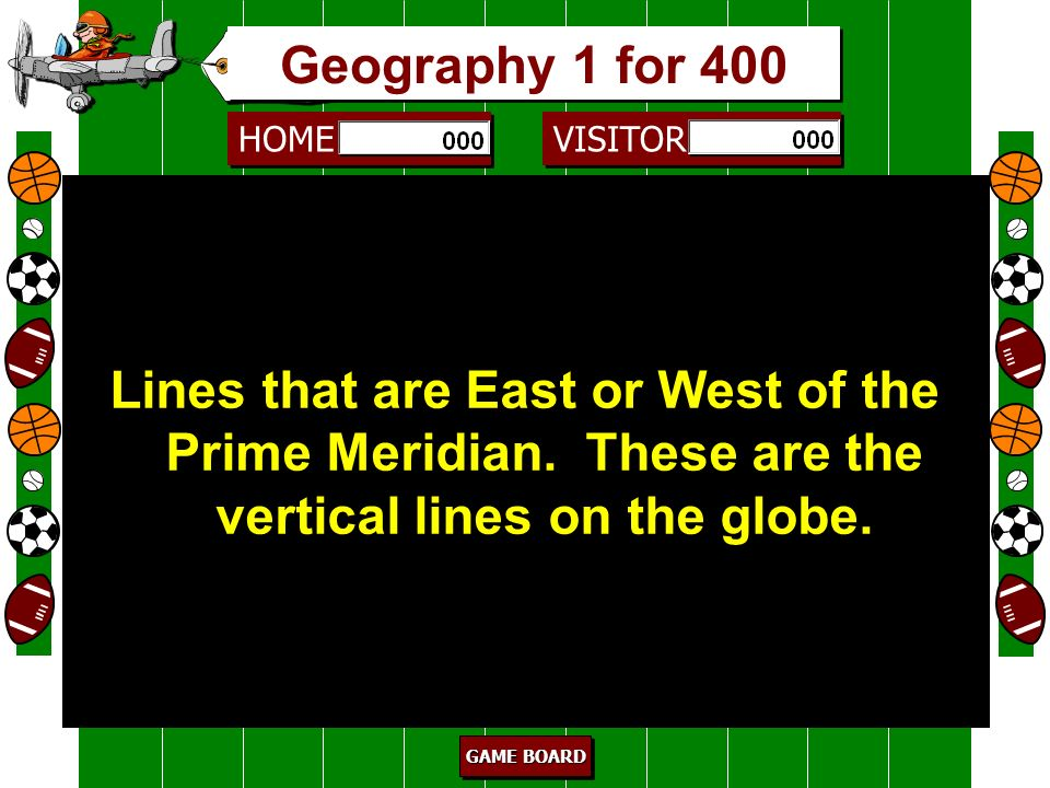 Geography 1 for 400 Lines that are East or West of the Prime Meridian. These are the vertical lines on the globe.