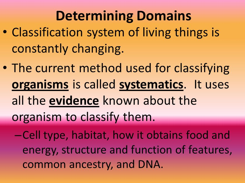 Determining Domains Classification system of living things is constantly changing.
