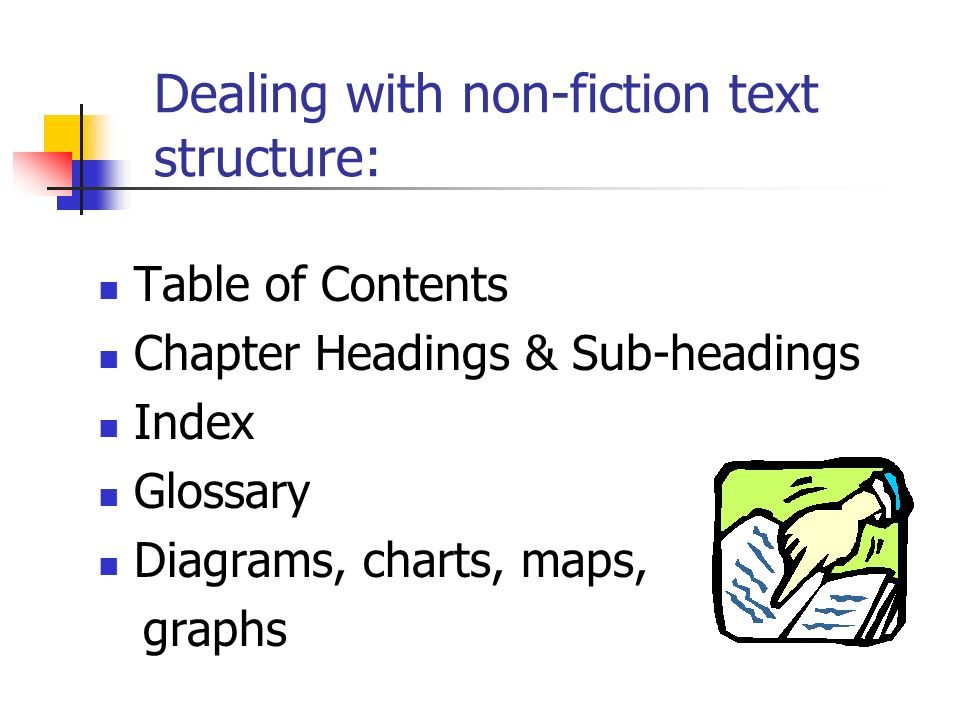 Dealing with non-fiction text structure: