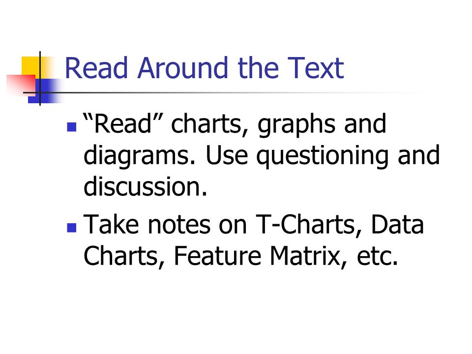 Read Around the Text Read charts, graphs and diagrams.