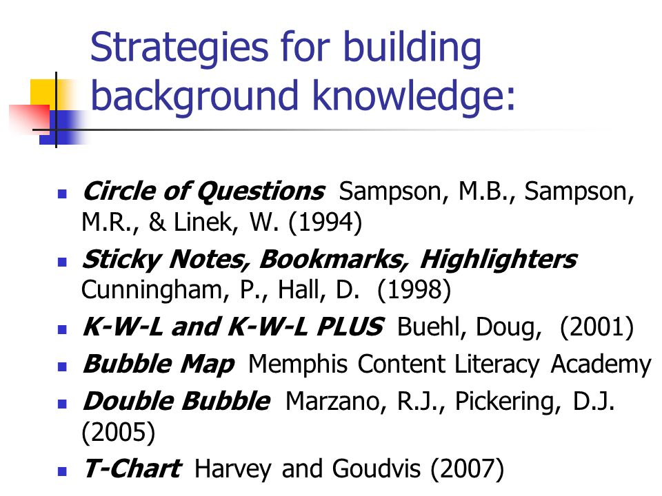 Strategies for building background knowledge: