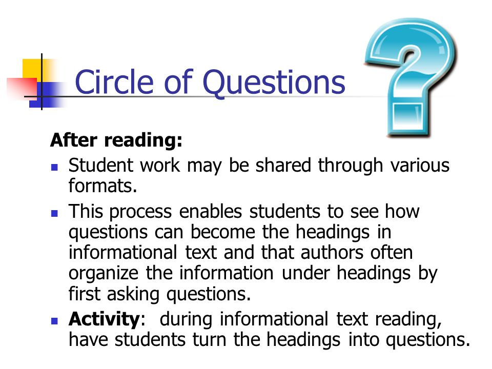 Circle of Questions After reading: