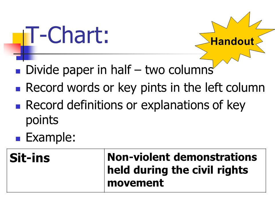 T-Chart: Divide paper in half – two columns