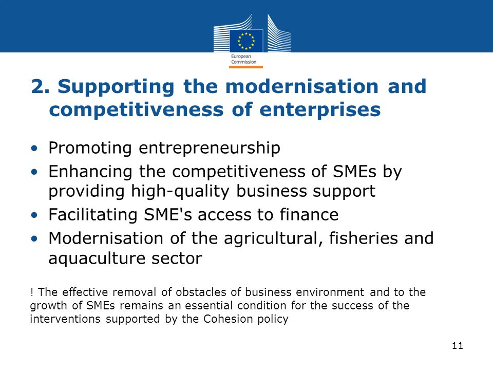 2. Supporting the modernisation and competitiveness of enterprises