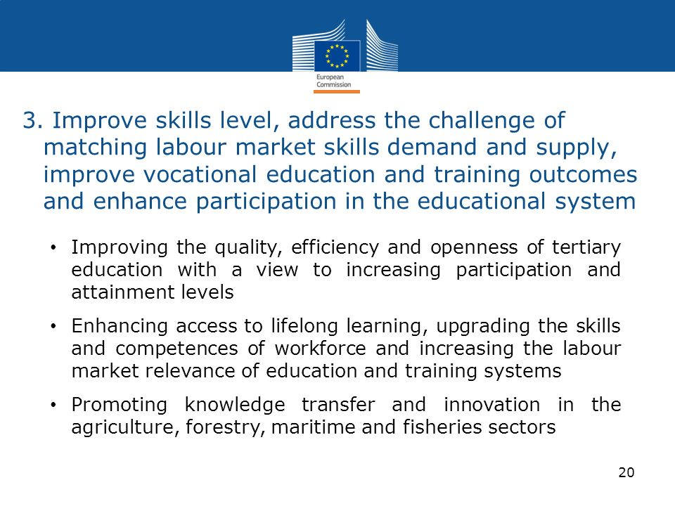 3. Improve skills level, address the challenge of matching labour market skills demand and supply, improve vocational education and training outcomes and enhance participation in the educational system