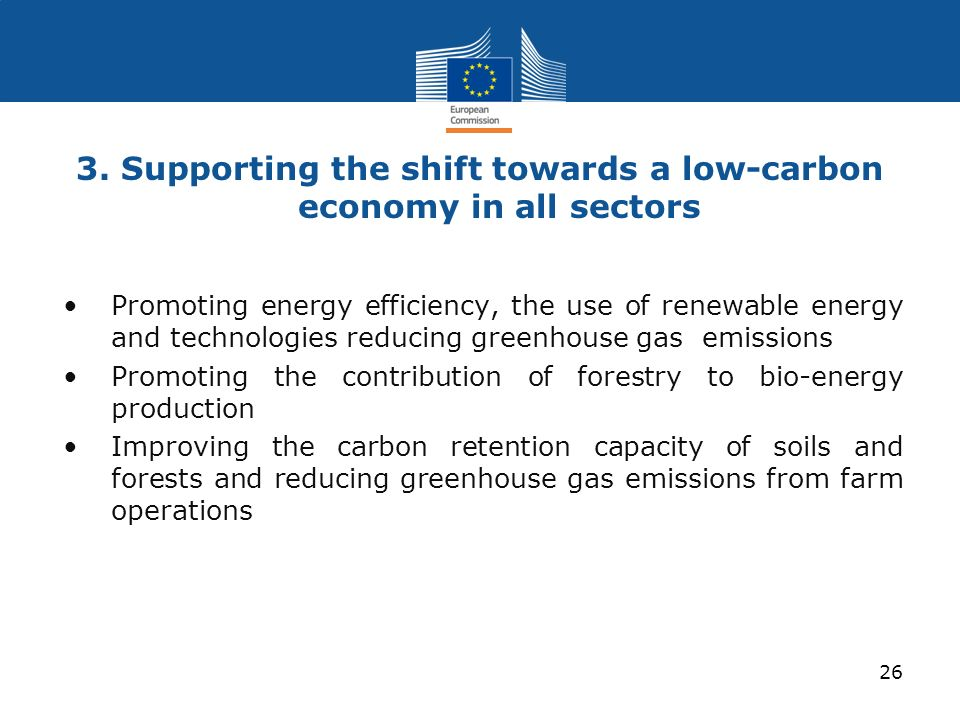 3. Supporting the shift towards a low-carbon economy in all sectors