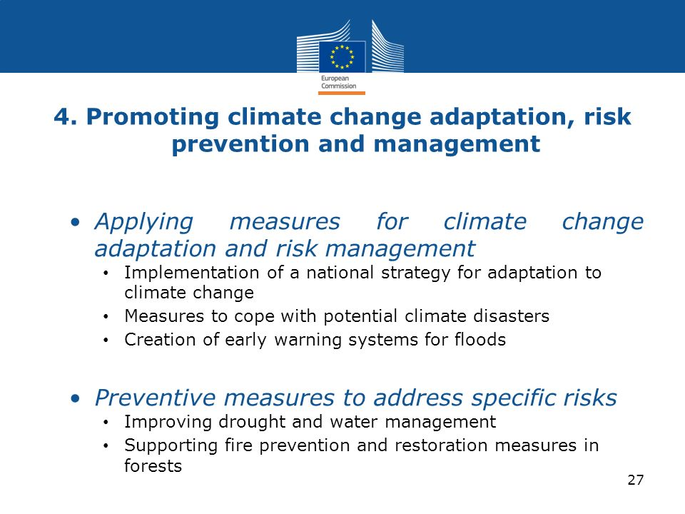 4. Promoting climate change adaptation, risk prevention and management