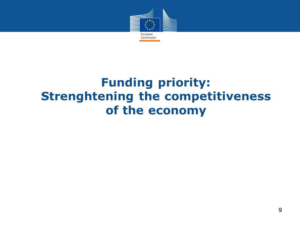 Funding priority: Strenghtening the competitiveness of the economy