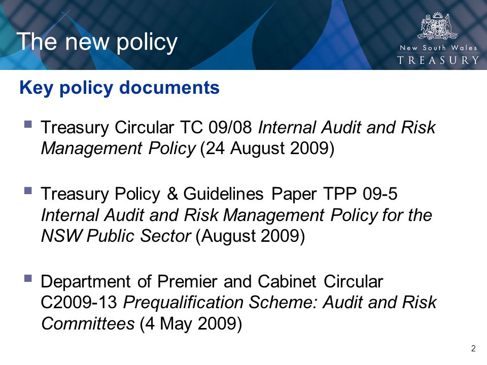The new policy Key policy documents
