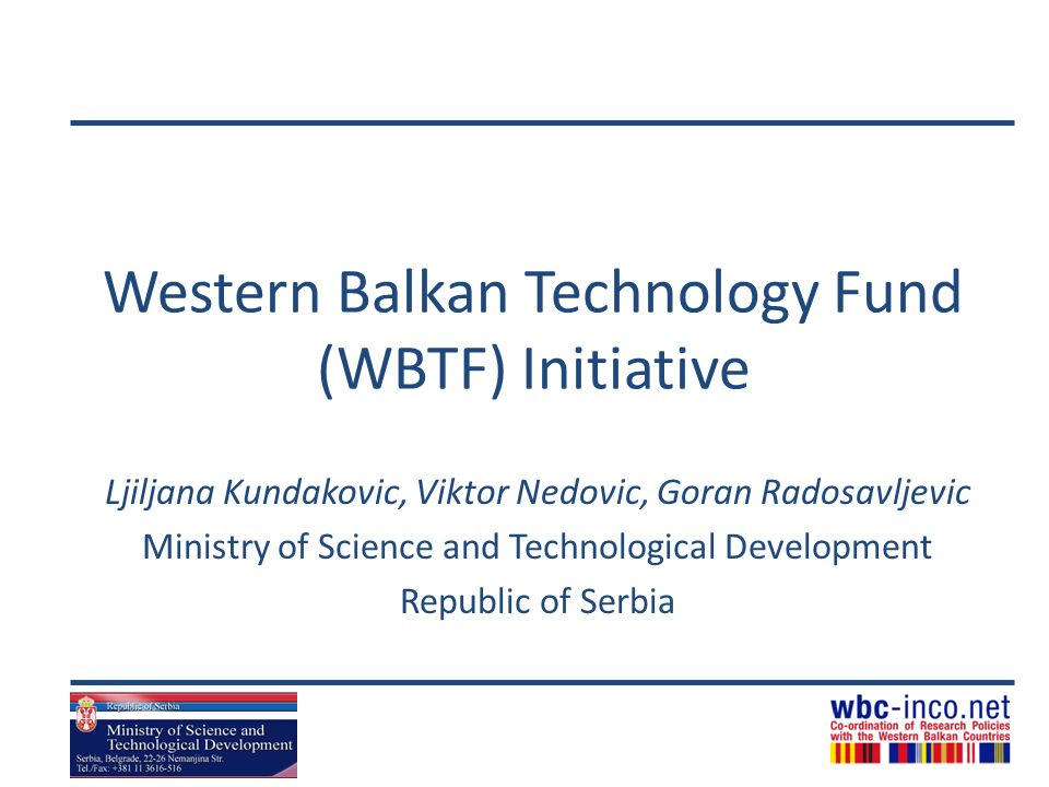 Western Balkan Technology Fund (WBTF) Initiative