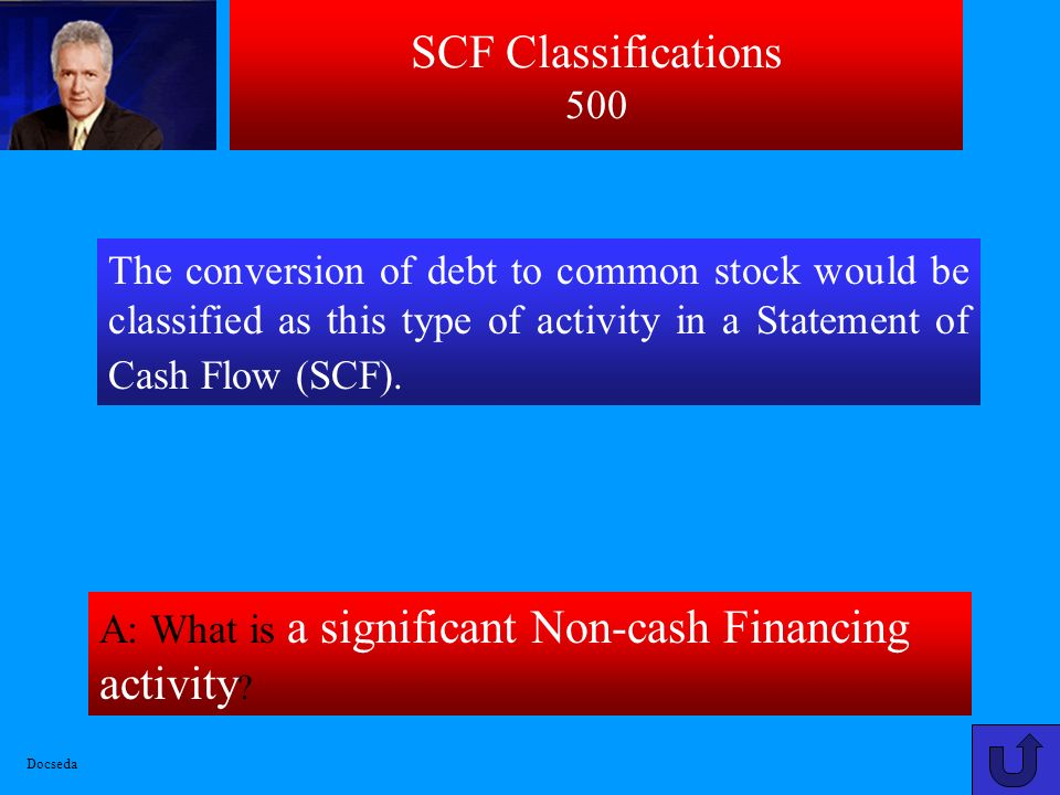 SCF Classifications 500 The conversion of debt to common stock would be classified as this type of activity in a Statement of Cash Flow (SCF).