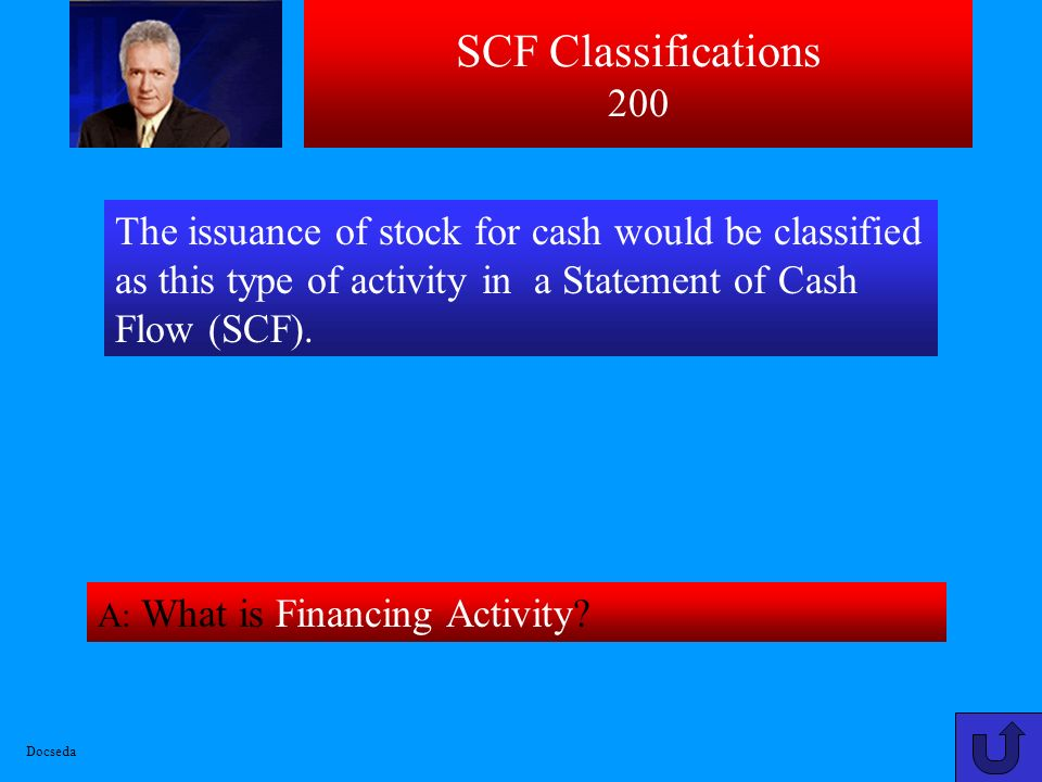 SCF Classifications 200 The issuance of stock for cash would be classified as this type of activity in a Statement of Cash Flow (SCF).