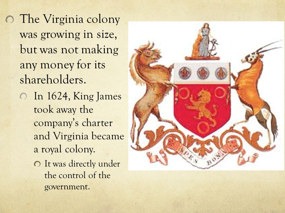 The Virginia colony was growing in size, but was not making any money for its shareholders.