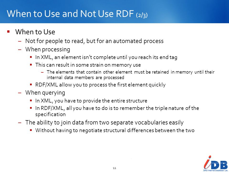 When to Use and Not Use RDF (2/3)