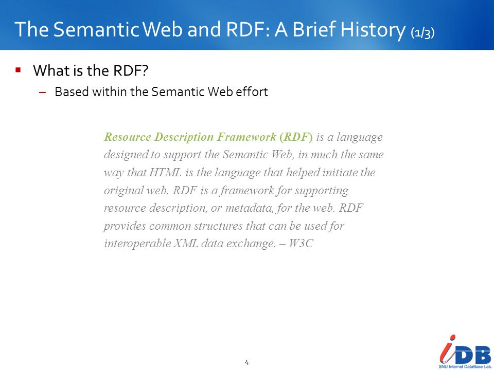 The Semantic Web and RDF: A Brief History (1/3)