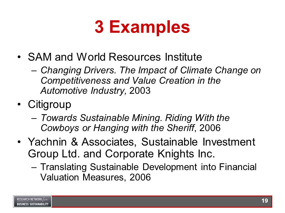 3 Examples SAM and World Resources Institute Citigroup