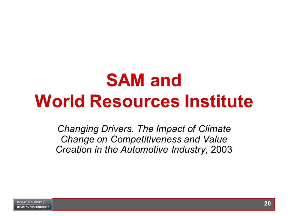 SAM and World Resources Institute