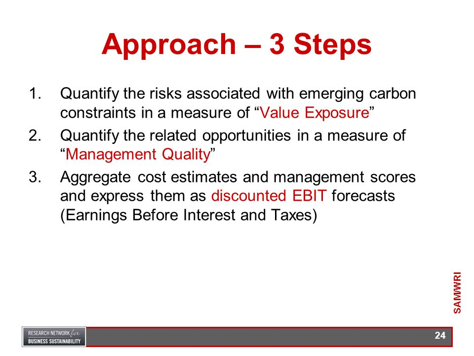 Approach – 3 Steps Quantify the risks associated with emerging carbon constraints in a measure of Value Exposure