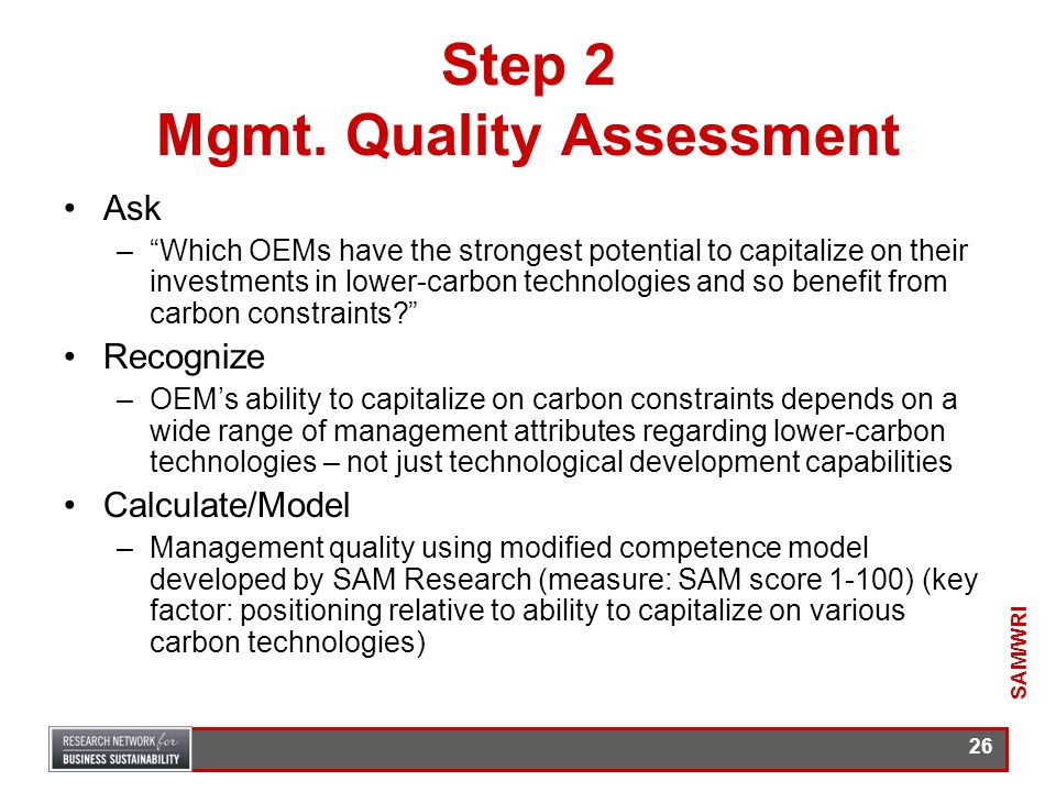 Step 2 Mgmt. Quality Assessment