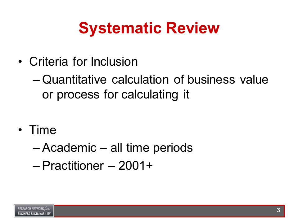 Systematic Review Criteria for Inclusion