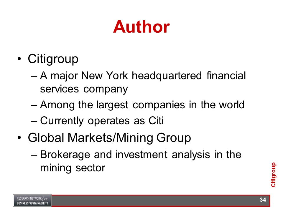 Author Citigroup Global Markets/Mining Group