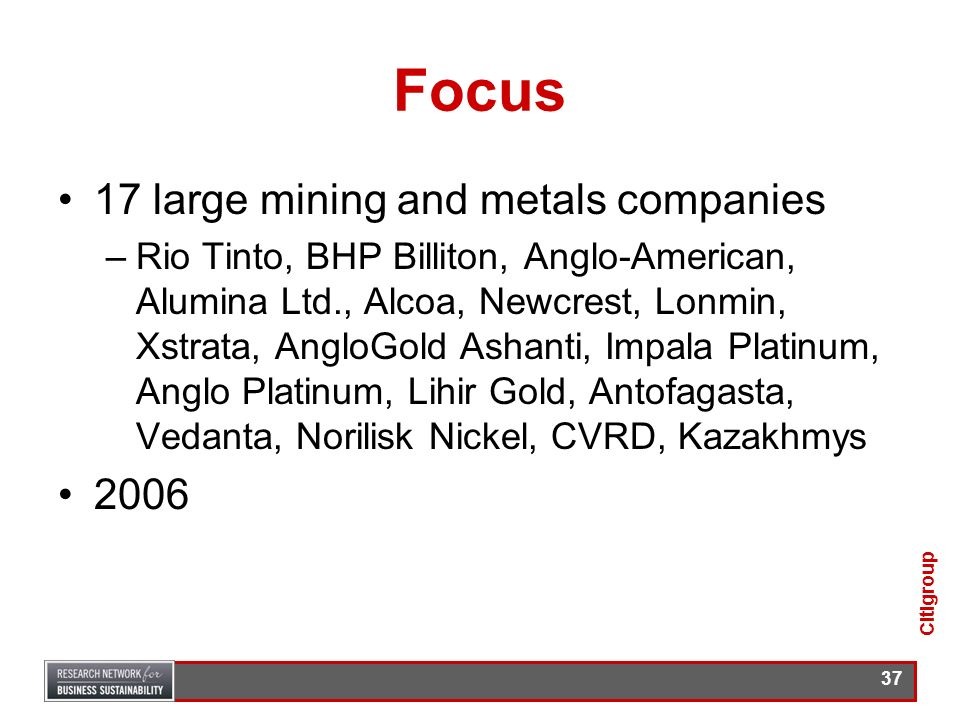 Focus 17 large mining and metals companies 2006