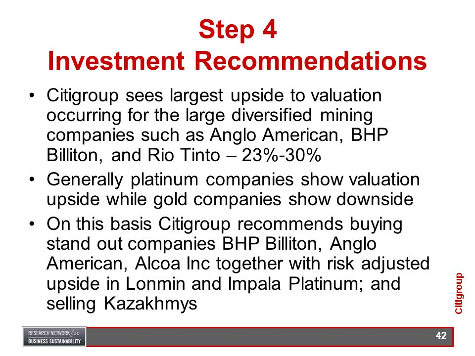 Step 4 Investment Recommendations