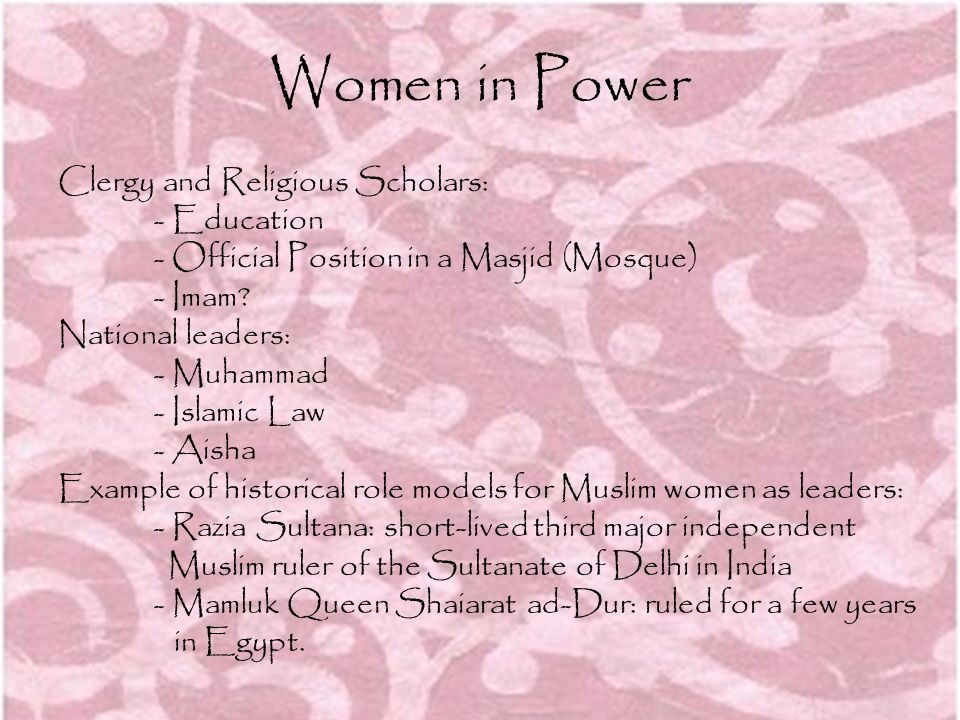 Women in Power Clergy and Religious Scholars: - Education