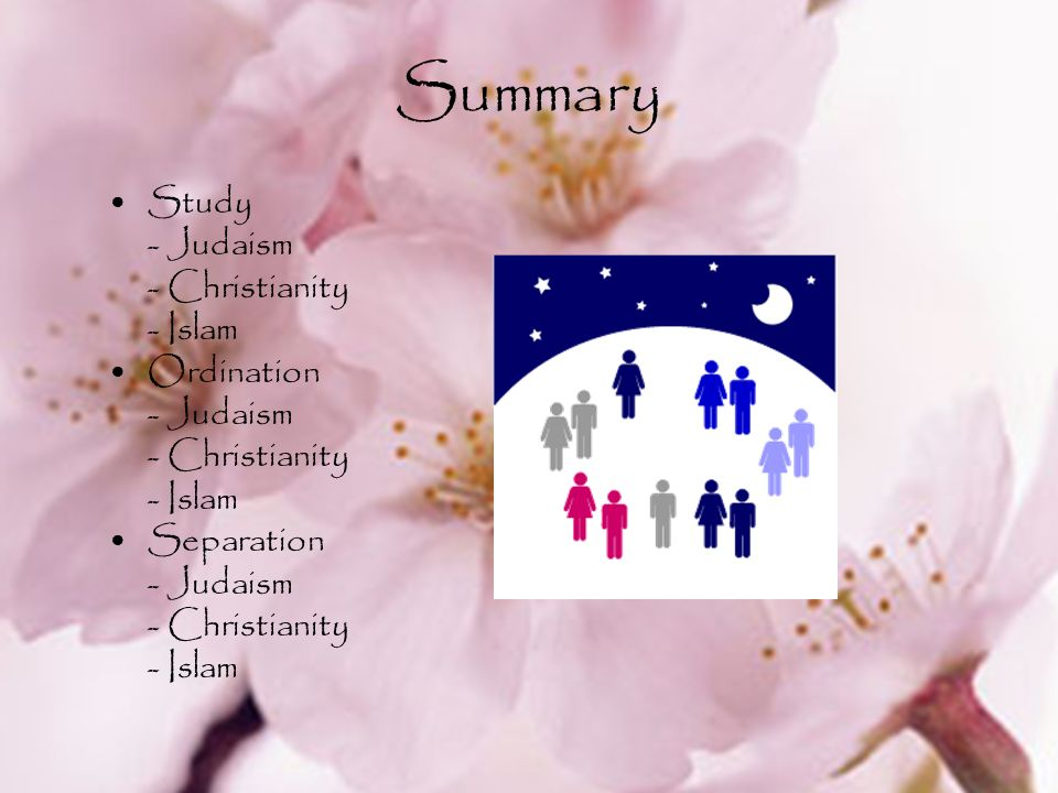 Summary Study - Judaism - Christianity - Islam Ordination Separation