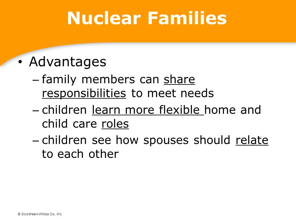 what are the advantages of nuclear family