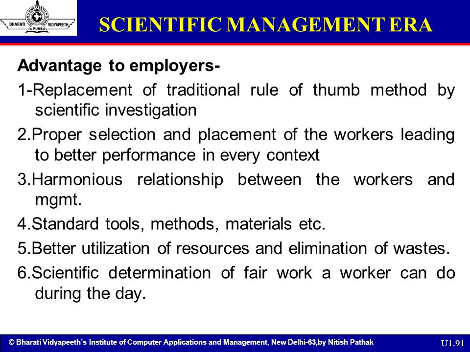 what was the main benefit of scientific management
