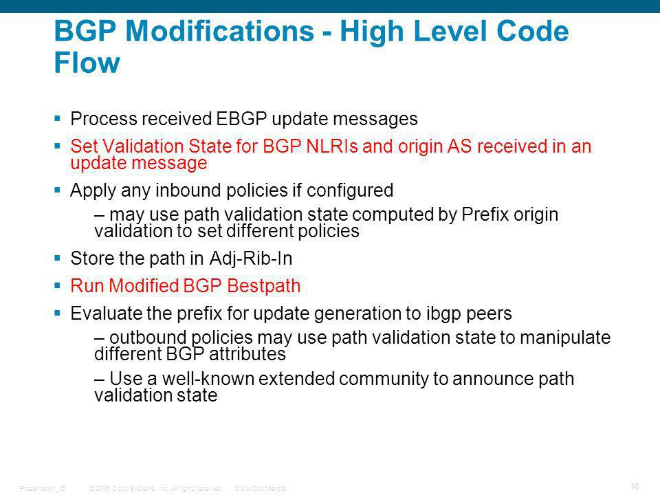 BGP Modifications - High Level Code Flow